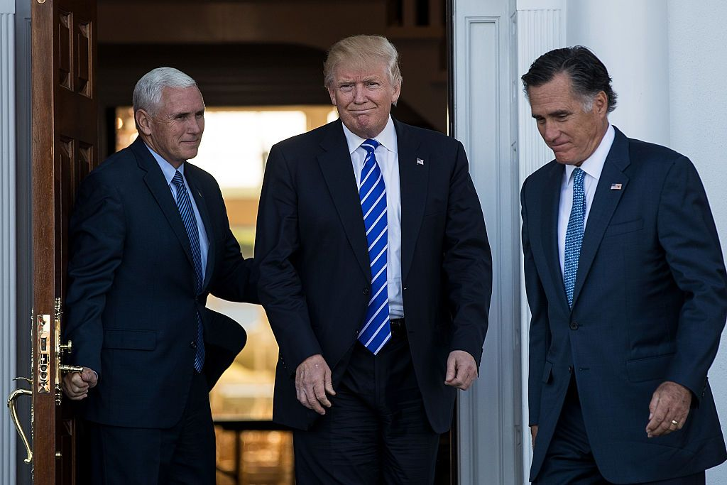 Donald Trump, Mike Pence and Mitt Romney