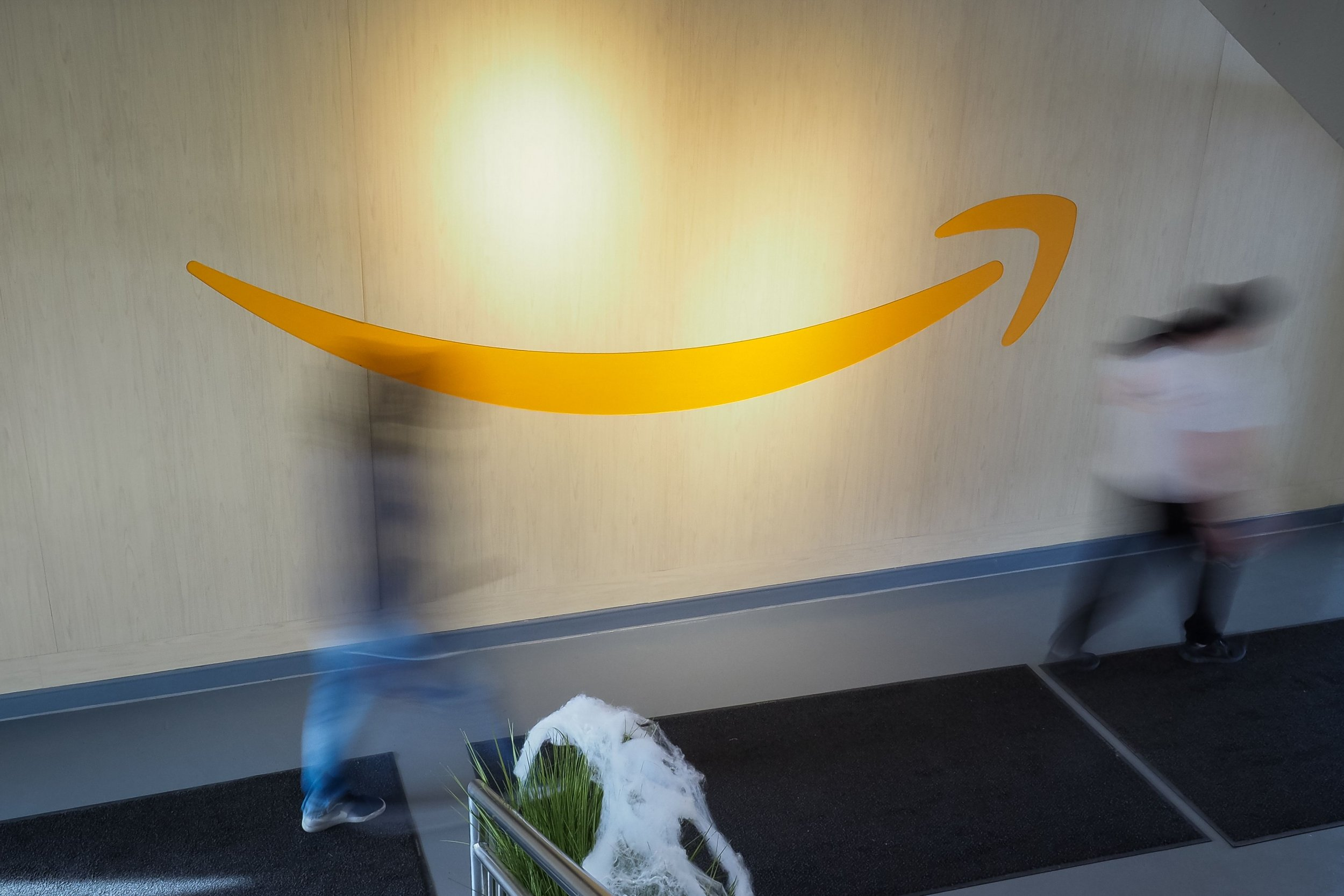 amazon logo on wall