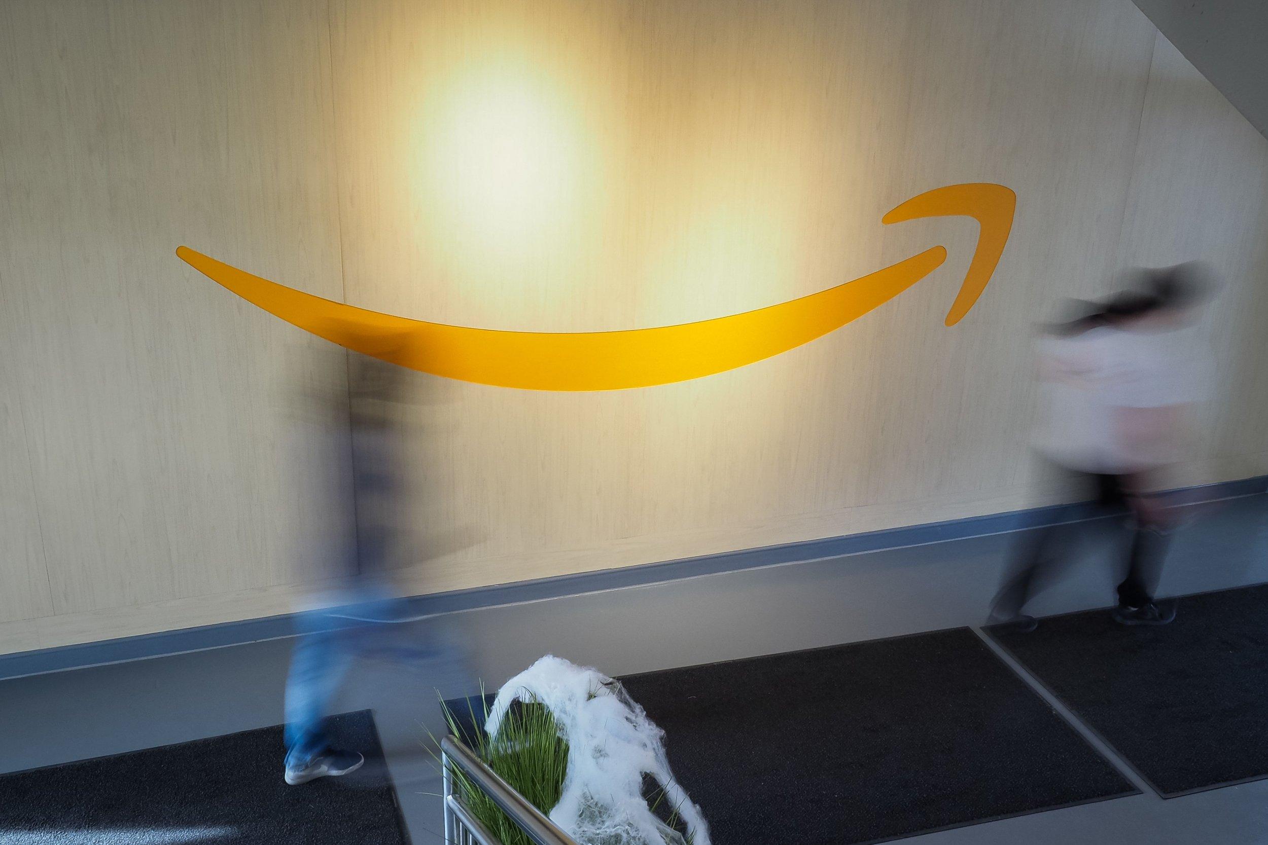 amazon logo on wall