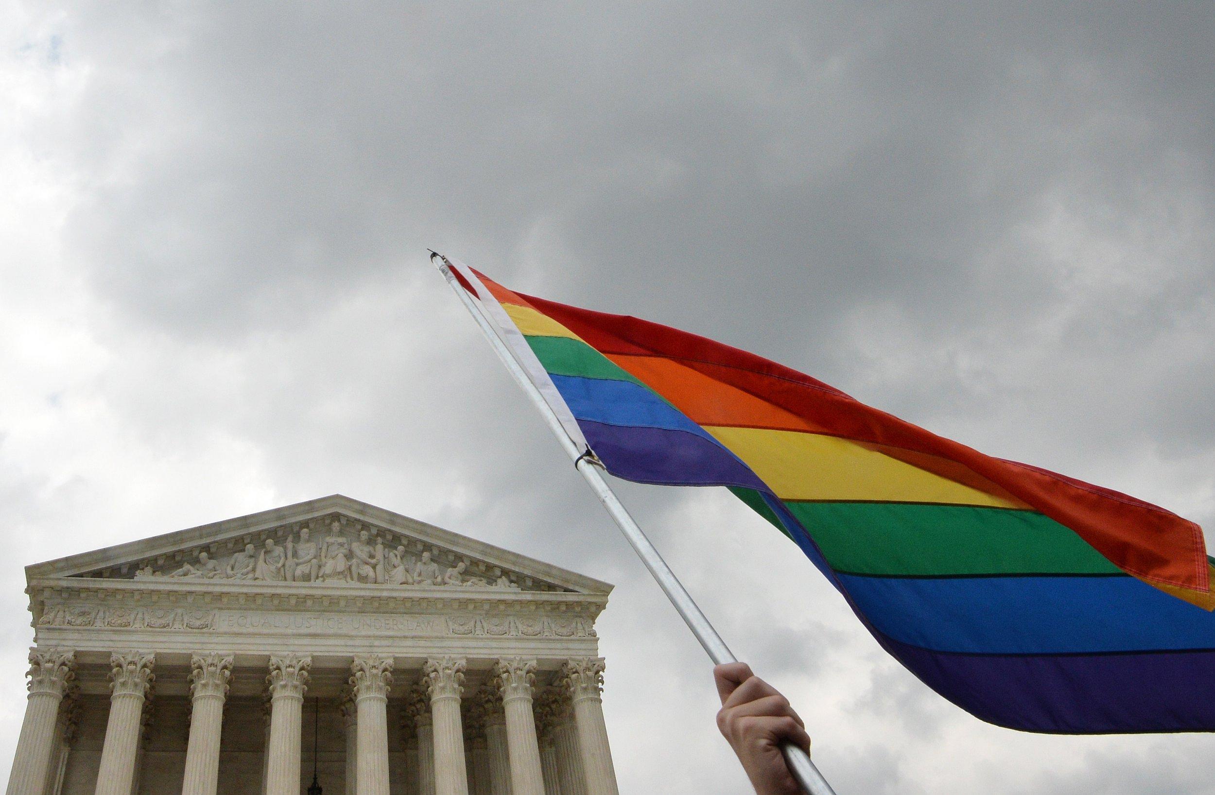 Gay pride flag Supreme Court Washington