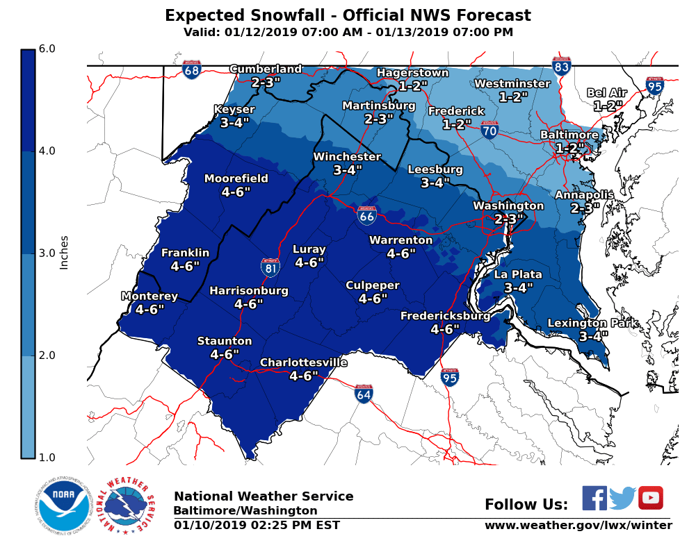 maryland virginia snow forecast