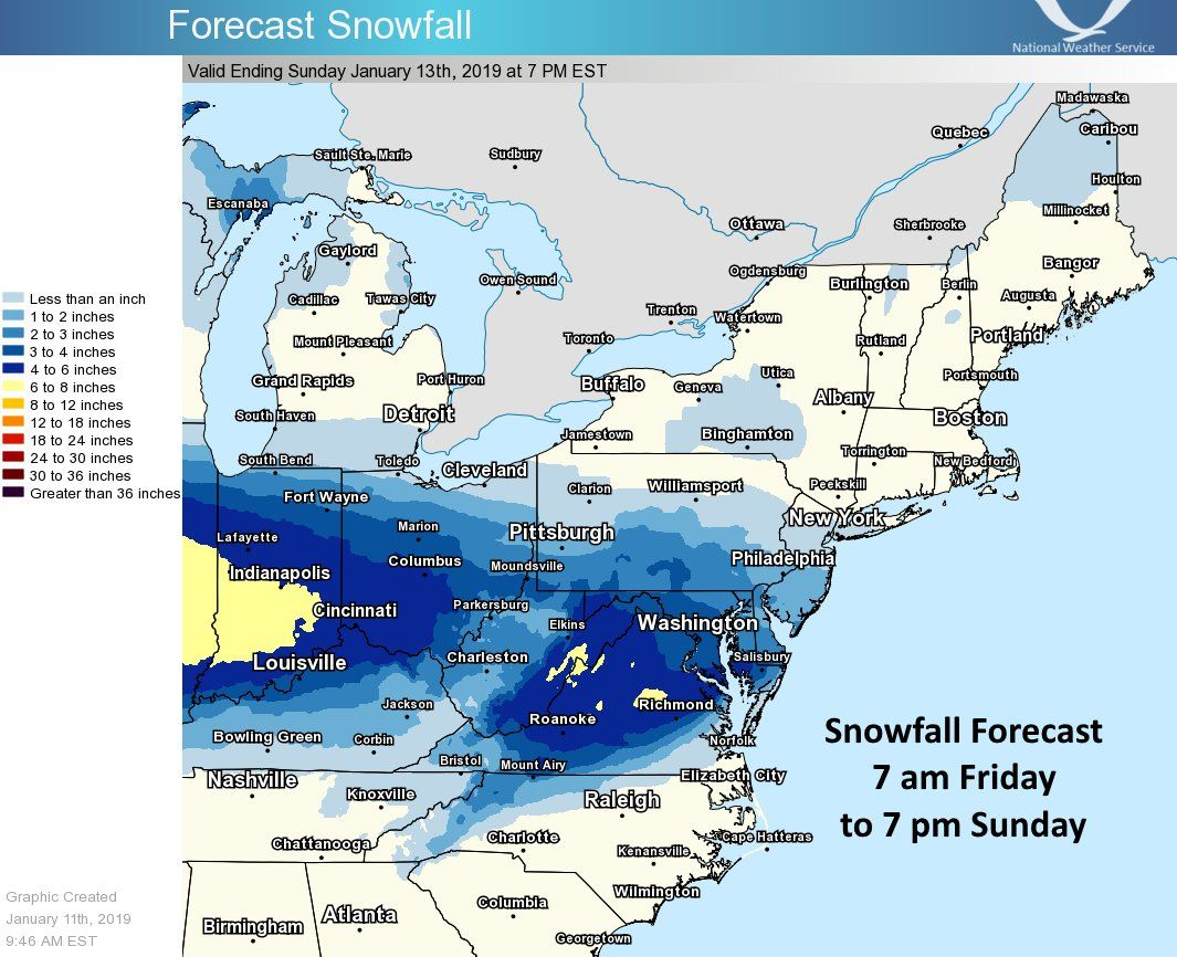 snowfall forecast map jan 11
