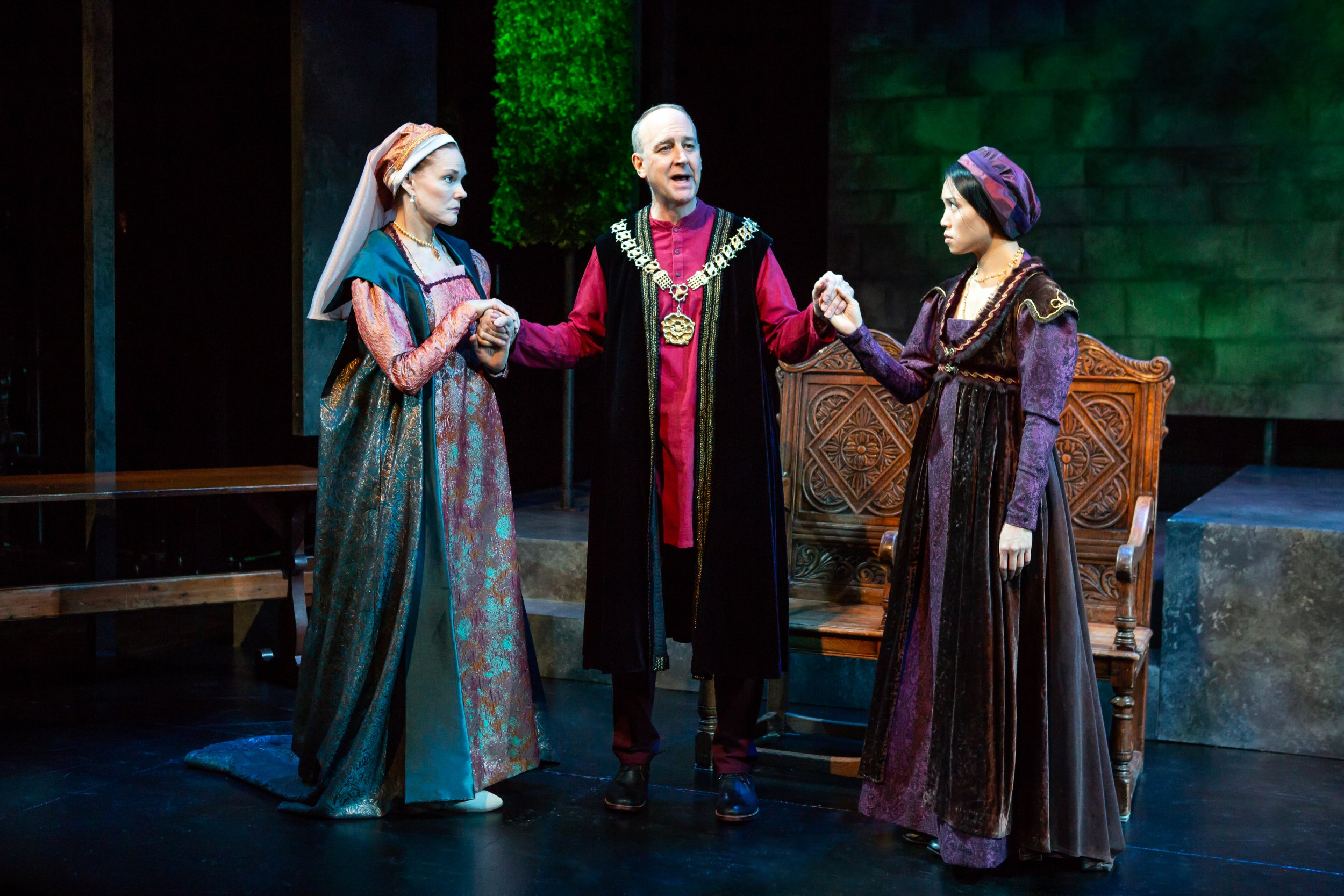 Carolyn McCormick, Michael Countryman, and Kim Wong in Fellowship for Performing Arts' production of A MAN FOR ALL SEASONS - Photo by Jeremy Daniel