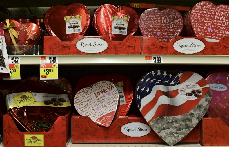valentin'es day candy in grocery store