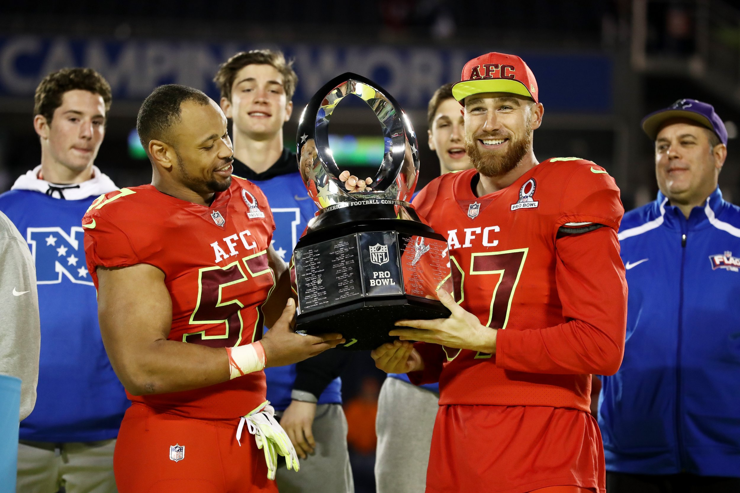 Lorenzo Alexander  57 and Travis Kelce  87 pose with the trophy after the AFC  defeated the NFC 20 to 13 during the NFL Pro Bowl at the Orlando Citrus Bowl  ... 8a8afa041