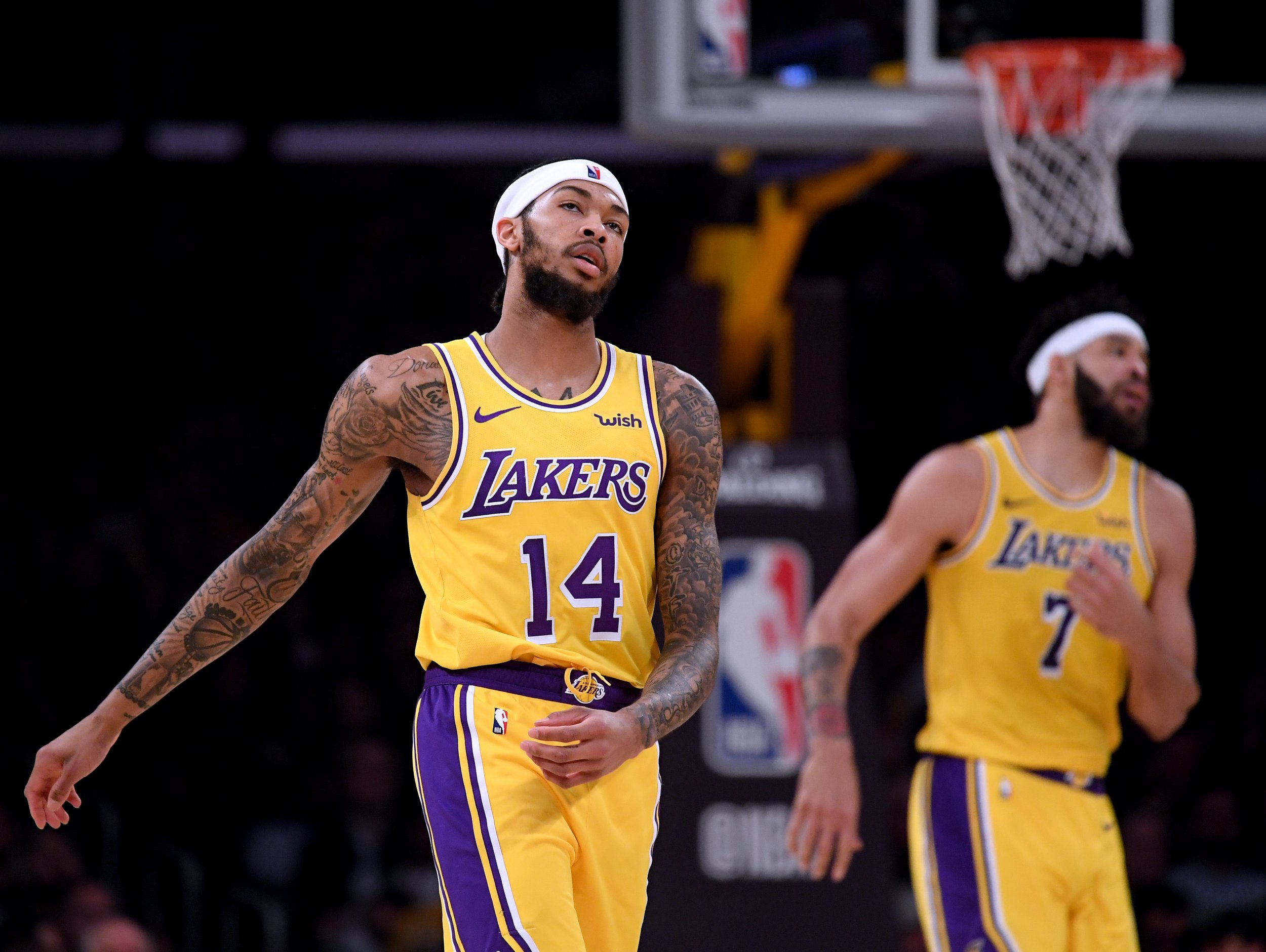 96d4aa9feec Brandon Ingram  14 and JaVale McGee  7 of the Los Angeles Lakers react  after a timeout trailing the Philadelphia 76ers during a 121-105 76ers win  at Staples ...