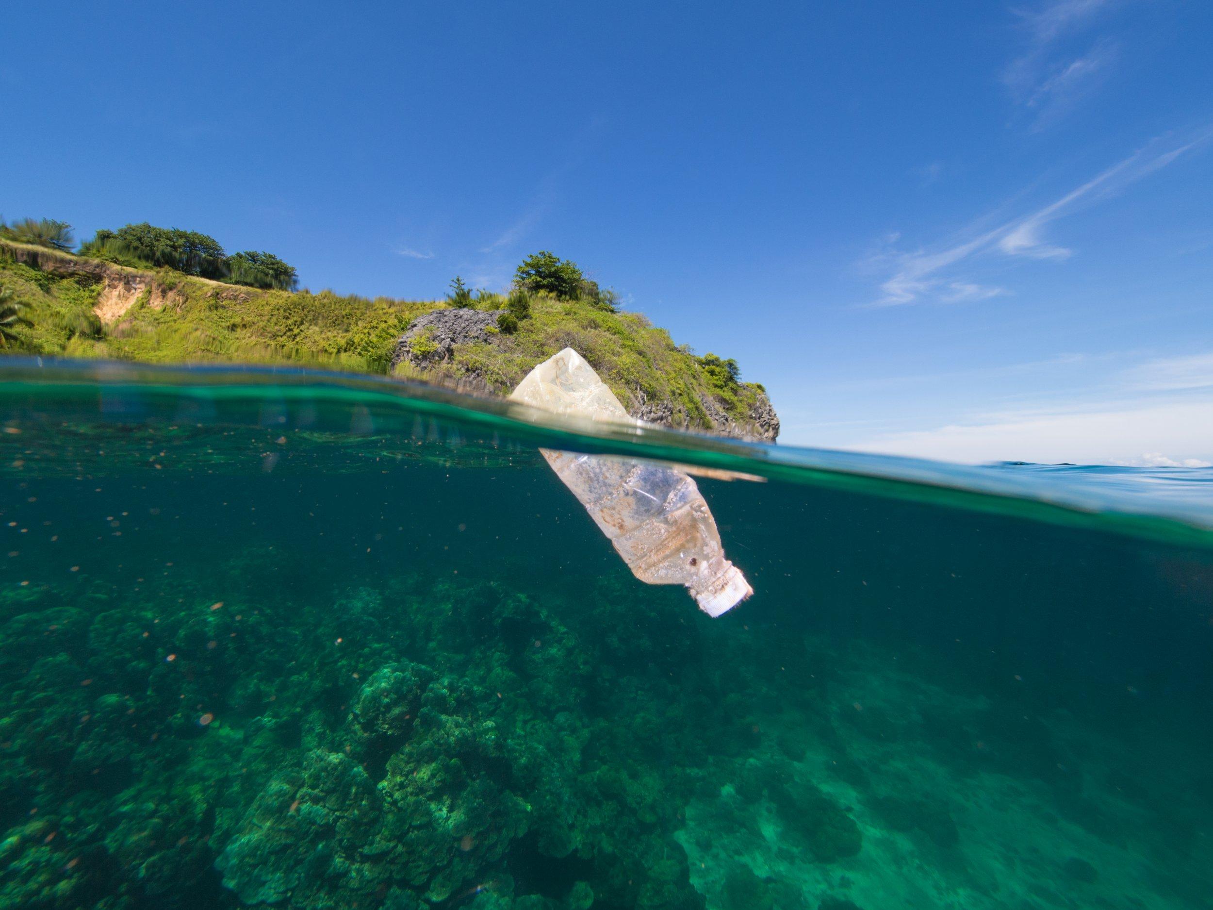 plastic sea water bottle litter getty stock