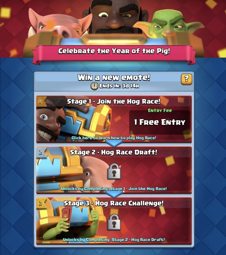 hog, race, challenge, decks, clash, royale, best, new, cards, win, lunar, new, year, event, rewards emote