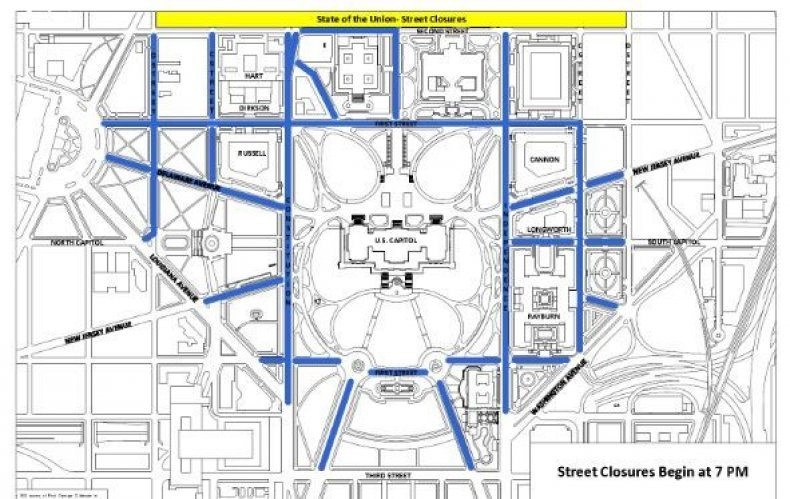 street closures state of the union washington dc trump's speech