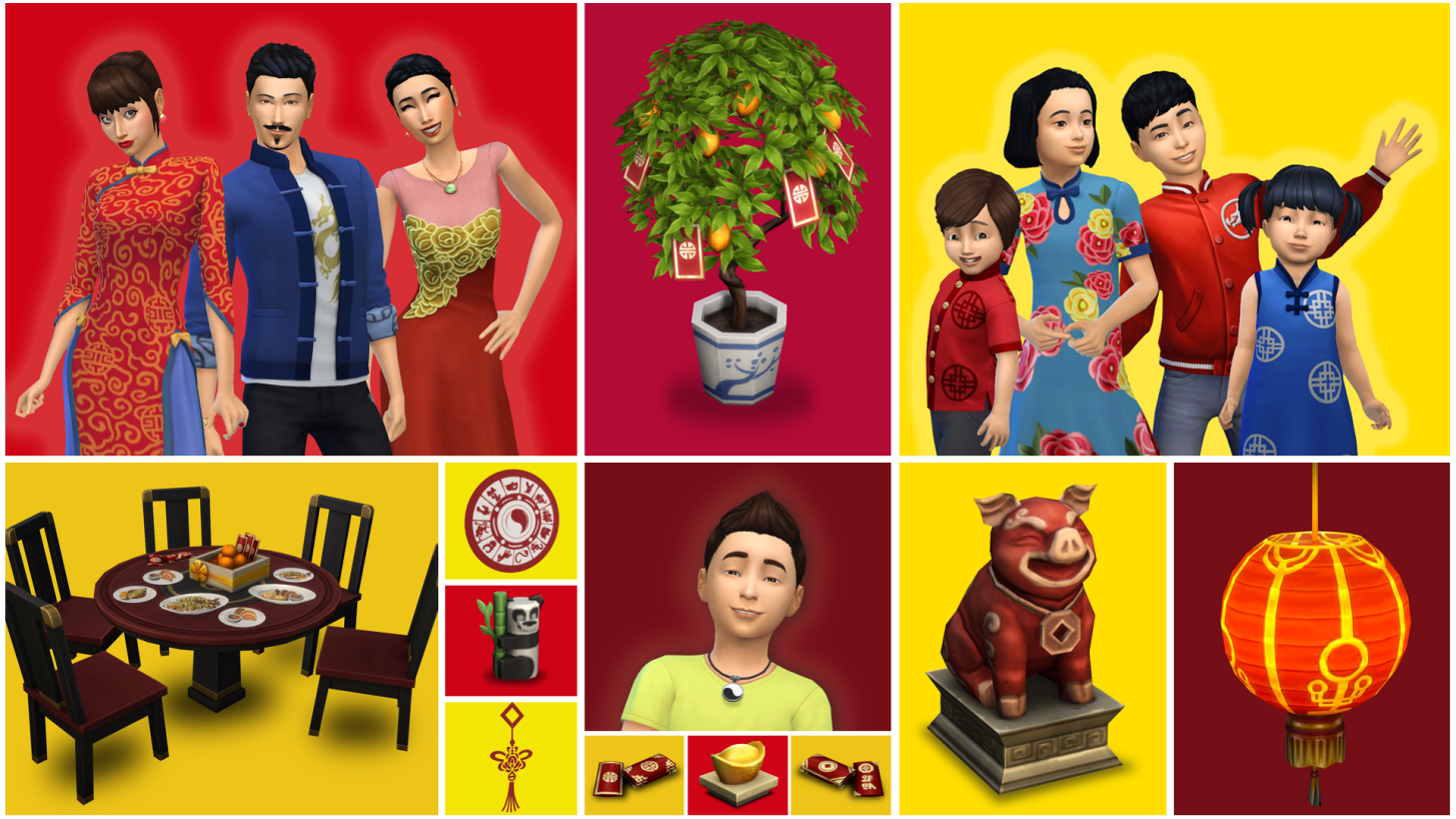 sims, 4, update, february, 2019, new, recipes, clothes, lunar, new, year, items