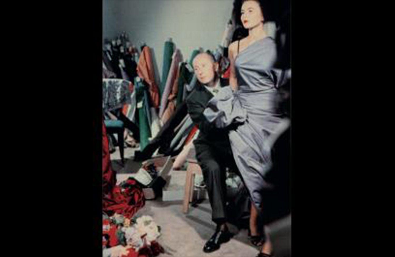 Christian Dior with model Sylvie, circa 1948