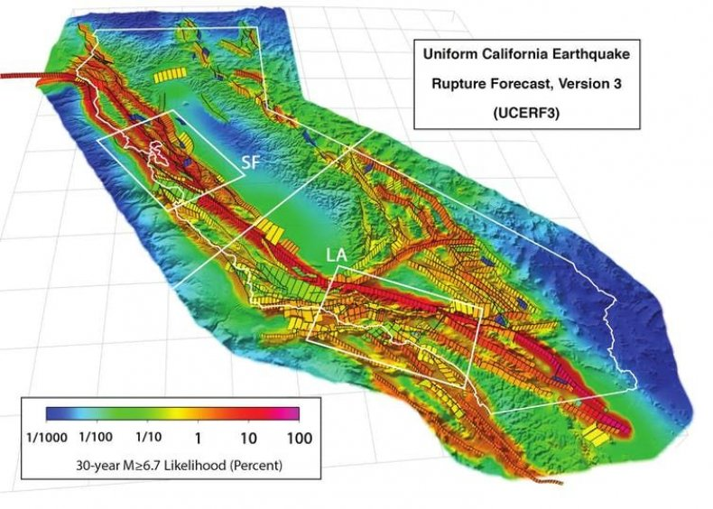 san andreas fault risk map