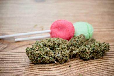 weed cannabis marijuana candy lollipop stock getty