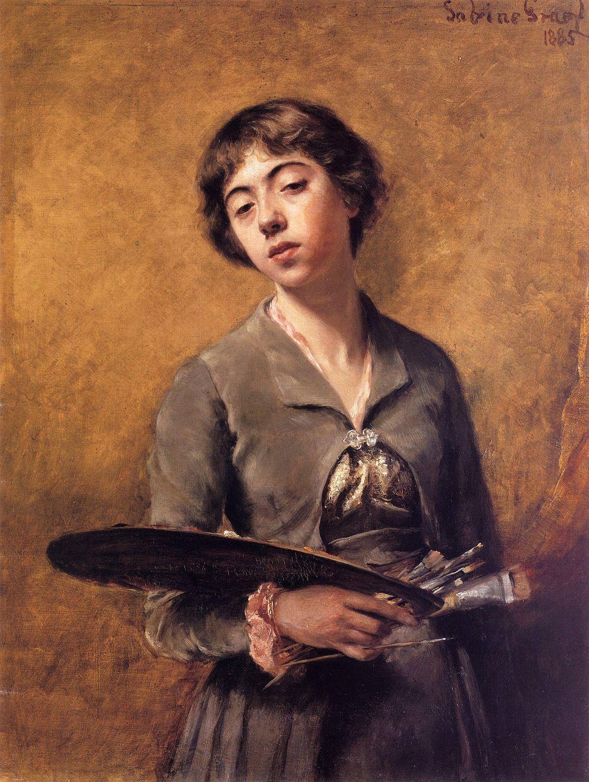 Sabine Lepsius, self portrait, detail, 1885