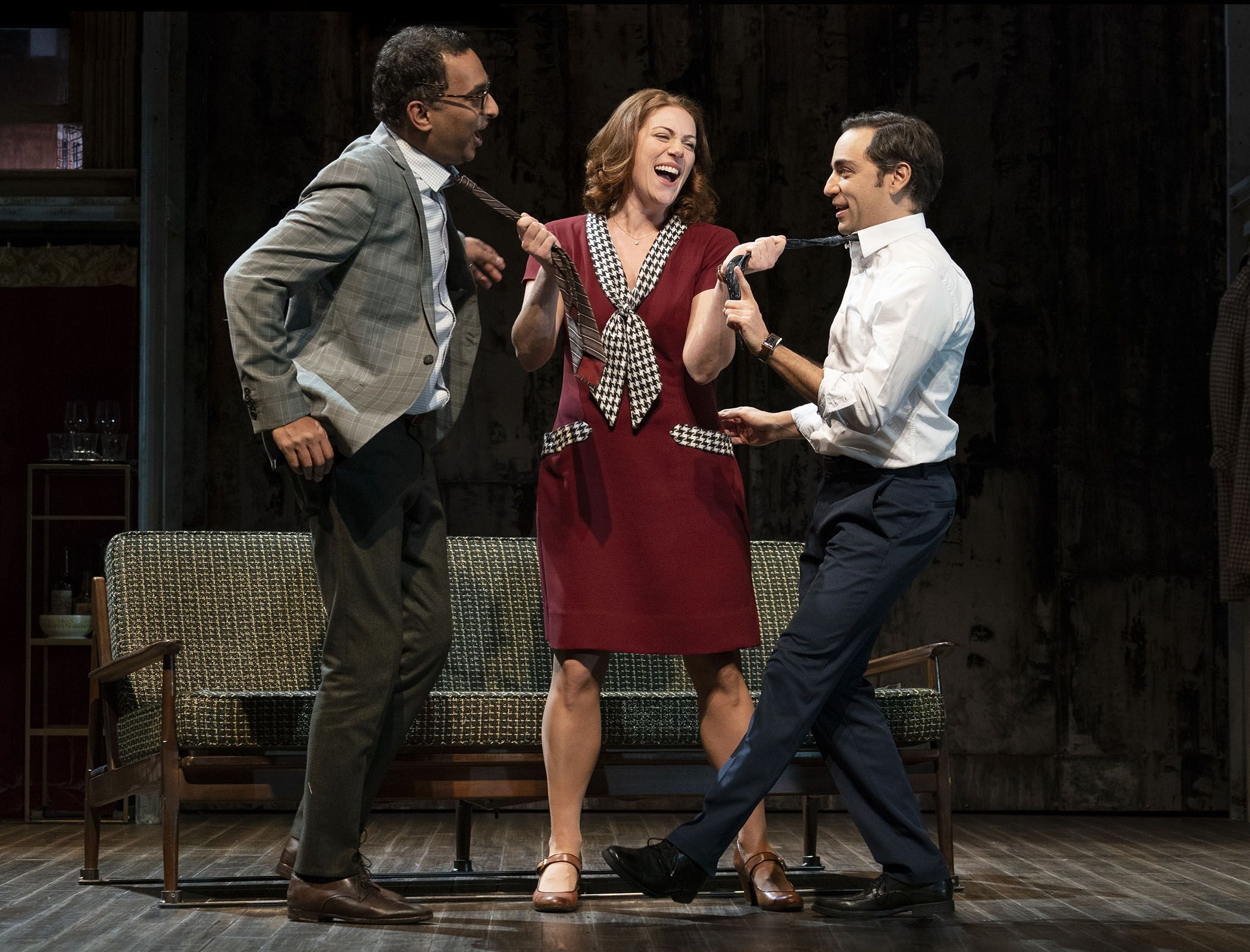 Manu Narayan, Jessie Austrian and Ben Steinfeld in MERRILY WE ROLL ALONG, Photo by Joan Marcus 2019 (2)