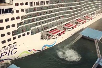 Norwegian Epic cruise ship crash video
