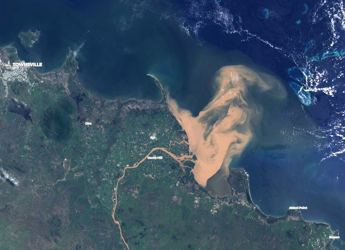 NASA, Great Barrier Reef, Australia, flooding