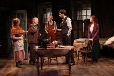 Una Clancy, Robert Langdon Lloyd, Ed Malone, James Russell, and Meg Hennessy in Irish Rep's 2019 production of THE SHADOW OF A GUNMAN - Photo by Carol Rosegg