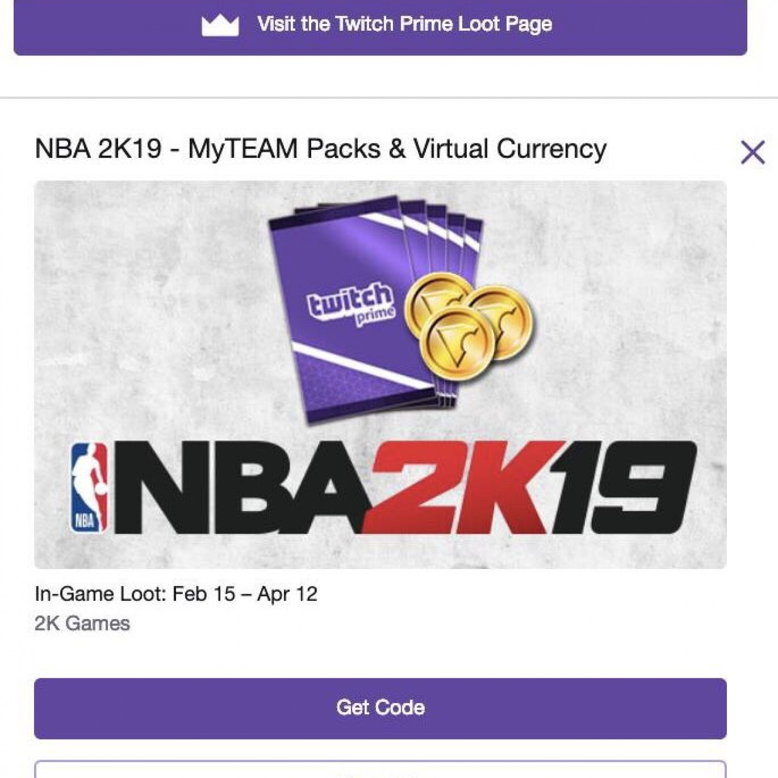 NBA 2K19' Twitch Prime Loot - How to Get Free VC & MyTeam Packs