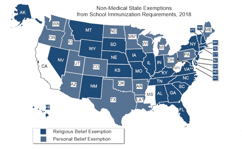 Vaccination Exemption Map