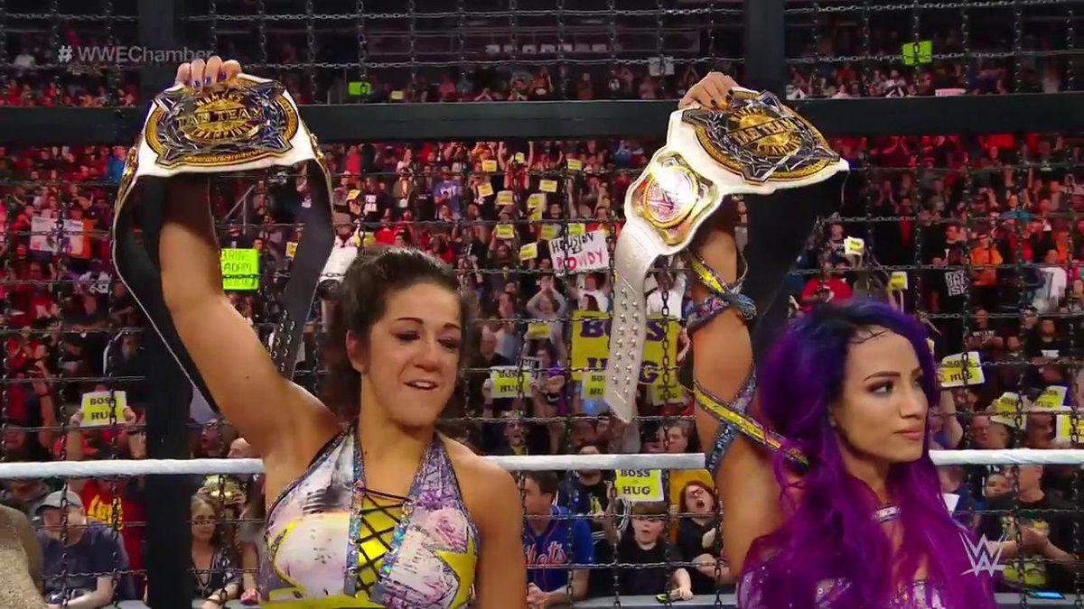 bayley and sasha win womens tag team championships
