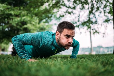 push up exercise fitness stock