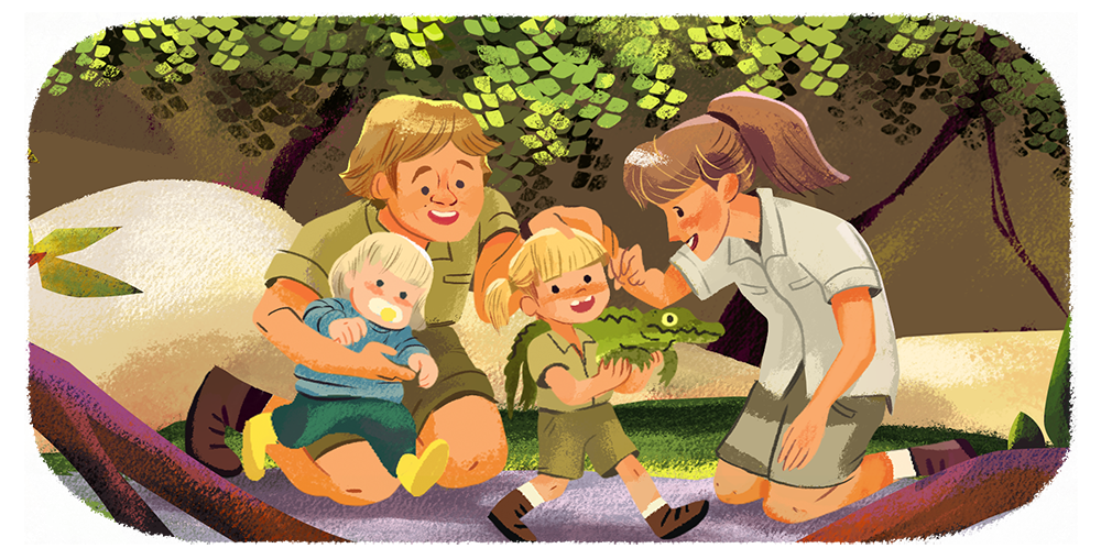 steve irwin and family google doodle