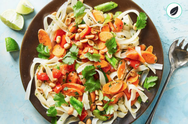 Martha & Marley Spoon veggie rice noodle stir fry with coconut-lime sauce and peanuts.