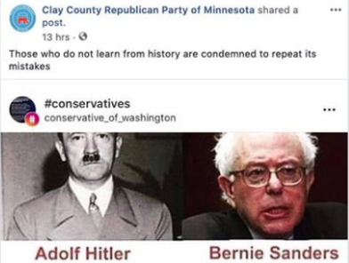 Minnesota Republican Group Posts Bernie Sanders Adolf Hitler Meme Comparing Socialist Policies