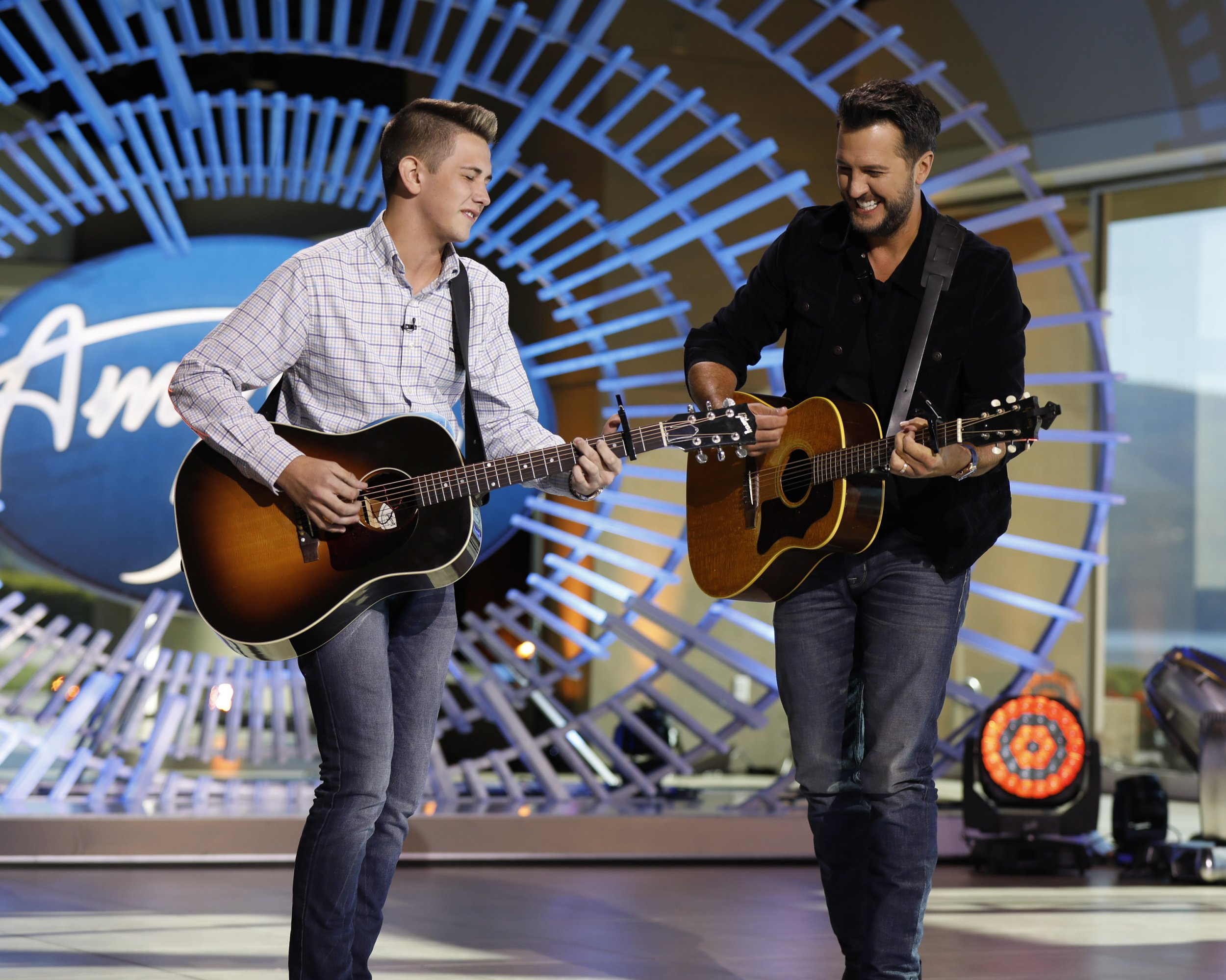 Luke Bryan & Ethan Payne During Round 2 of 'American Idol'