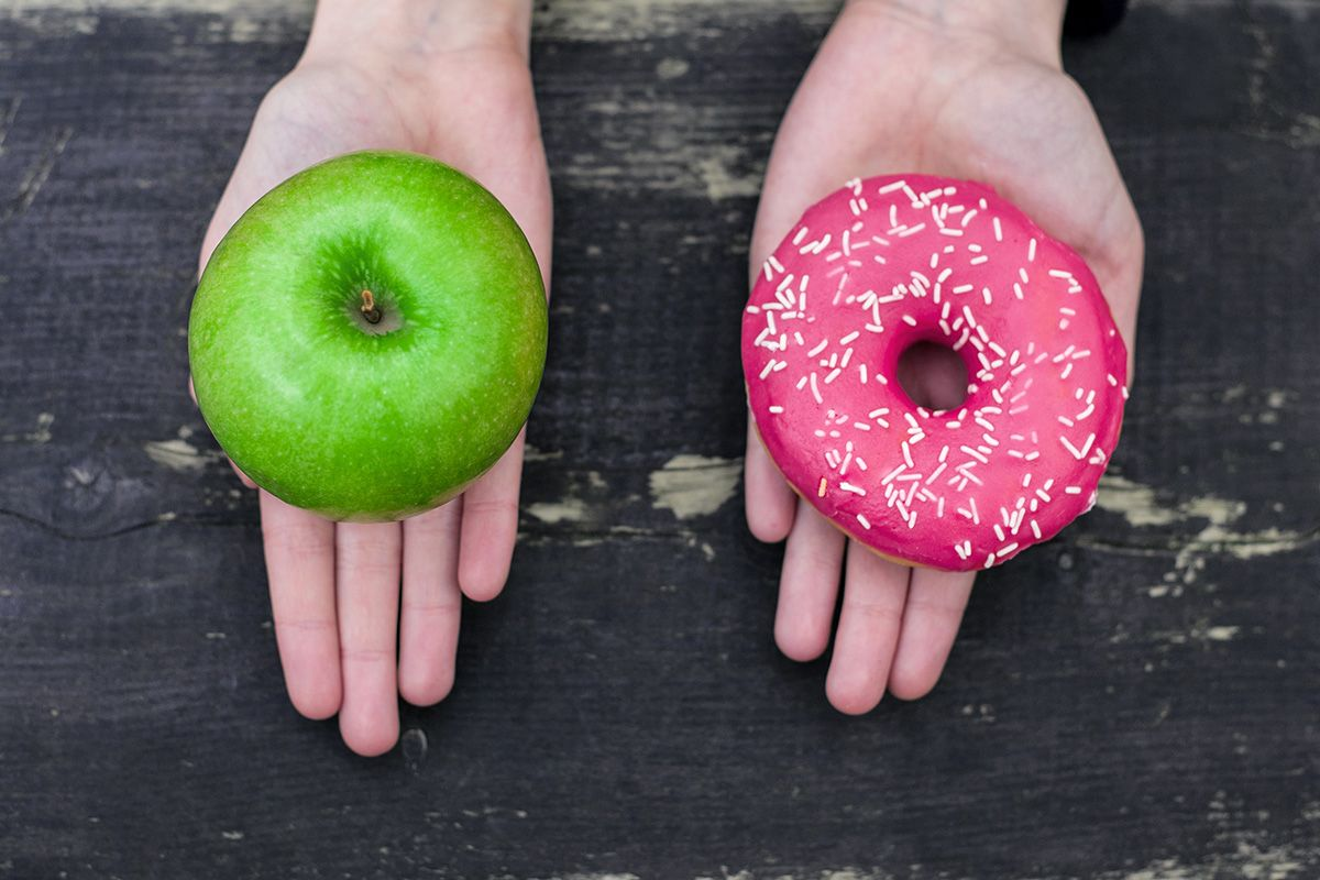 donut apple healthy food stock getty