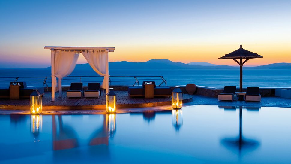 Greece - Poolside cabana at the Mykonos Grand Hotel