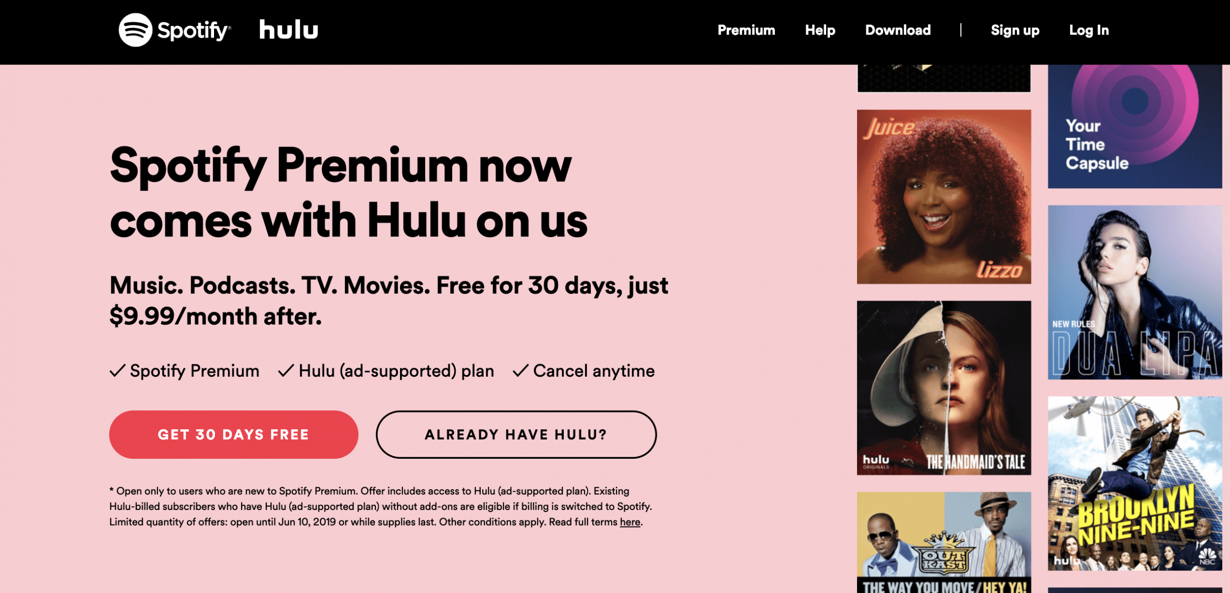 hulu spotify bundle how to sign up for free hulu with premium spotify plan. Black Bedroom Furniture Sets. Home Design Ideas