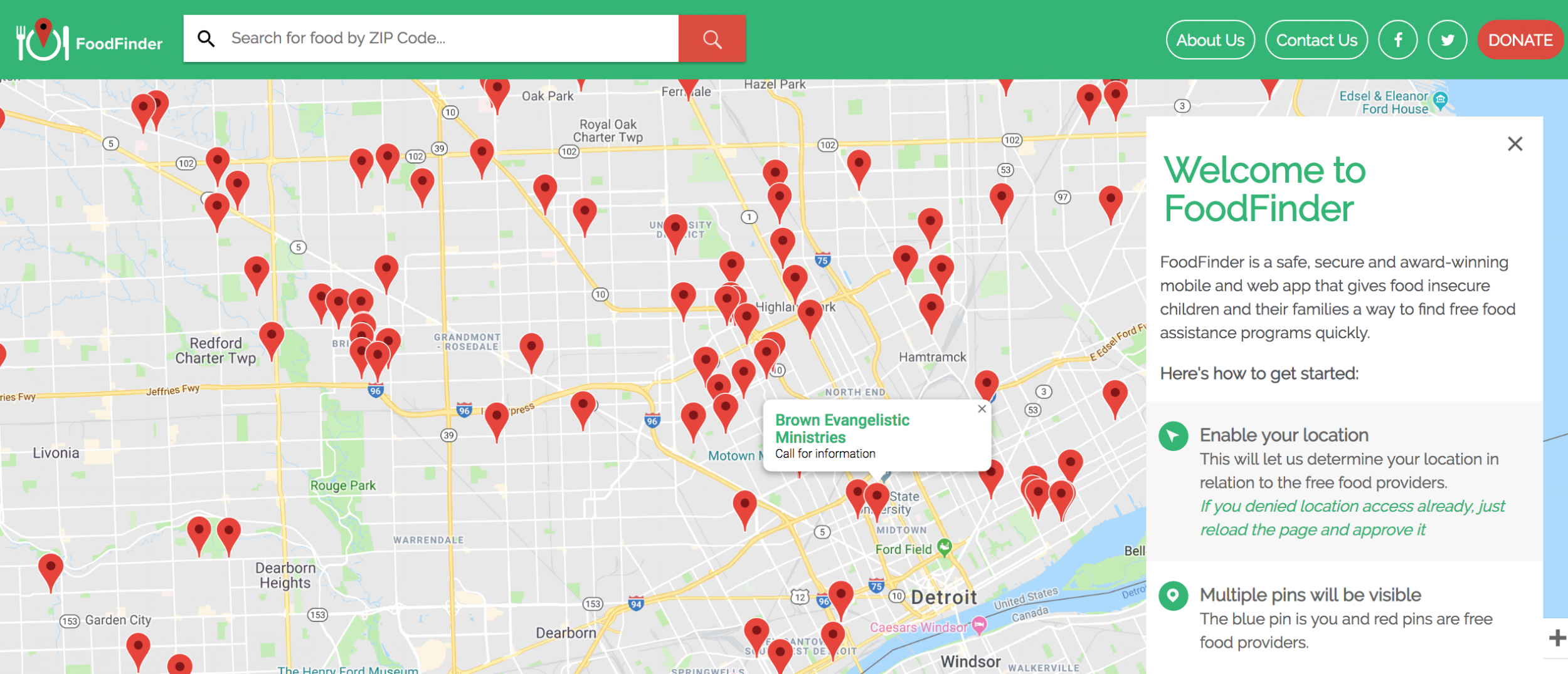 FoodFinder showing accessible food by zip code