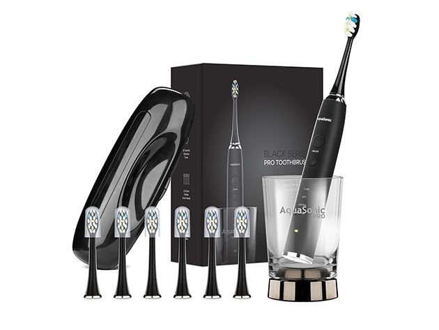 Dental Care Tools - Aquasonic PRO Toothbrush with 6 ProFlex Brush Heads, Wireless Charging Glass & Case