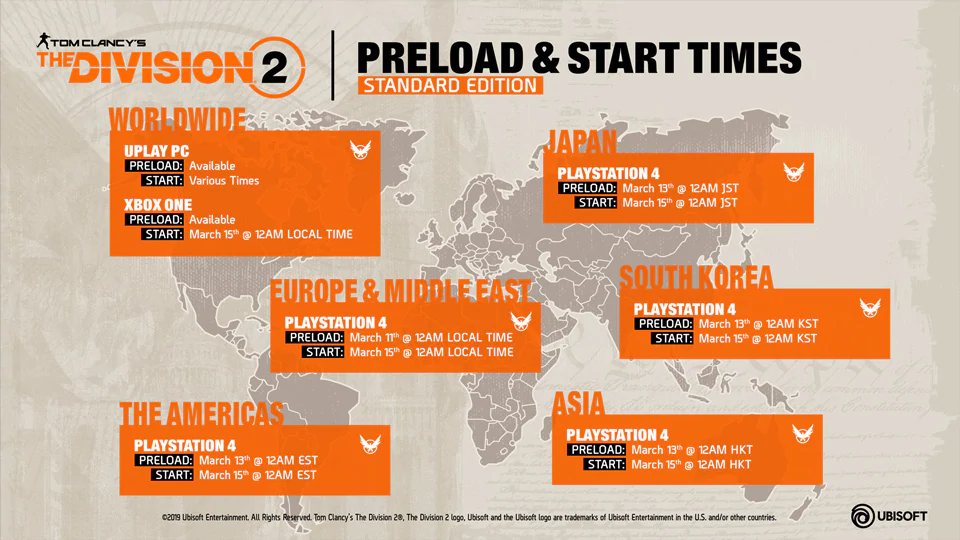 Division 2 Release Times