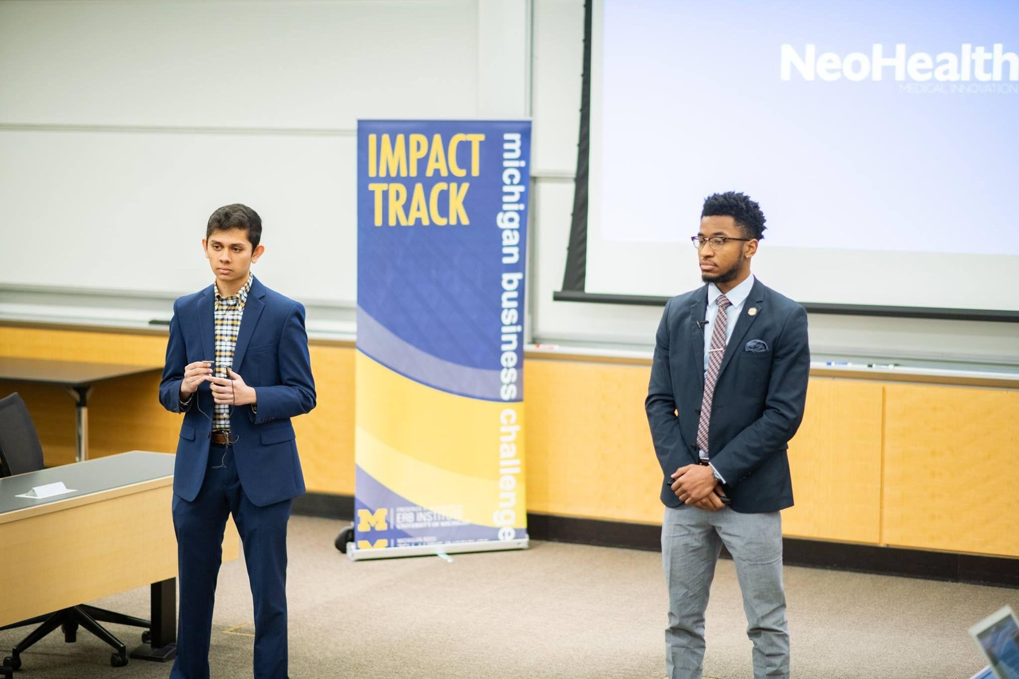 Founders of NeoHealth, Sujai Arakali and David Chang, at the Michigan Business Challenge