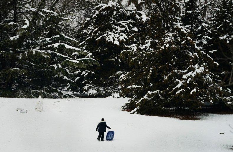 snow in field sledding