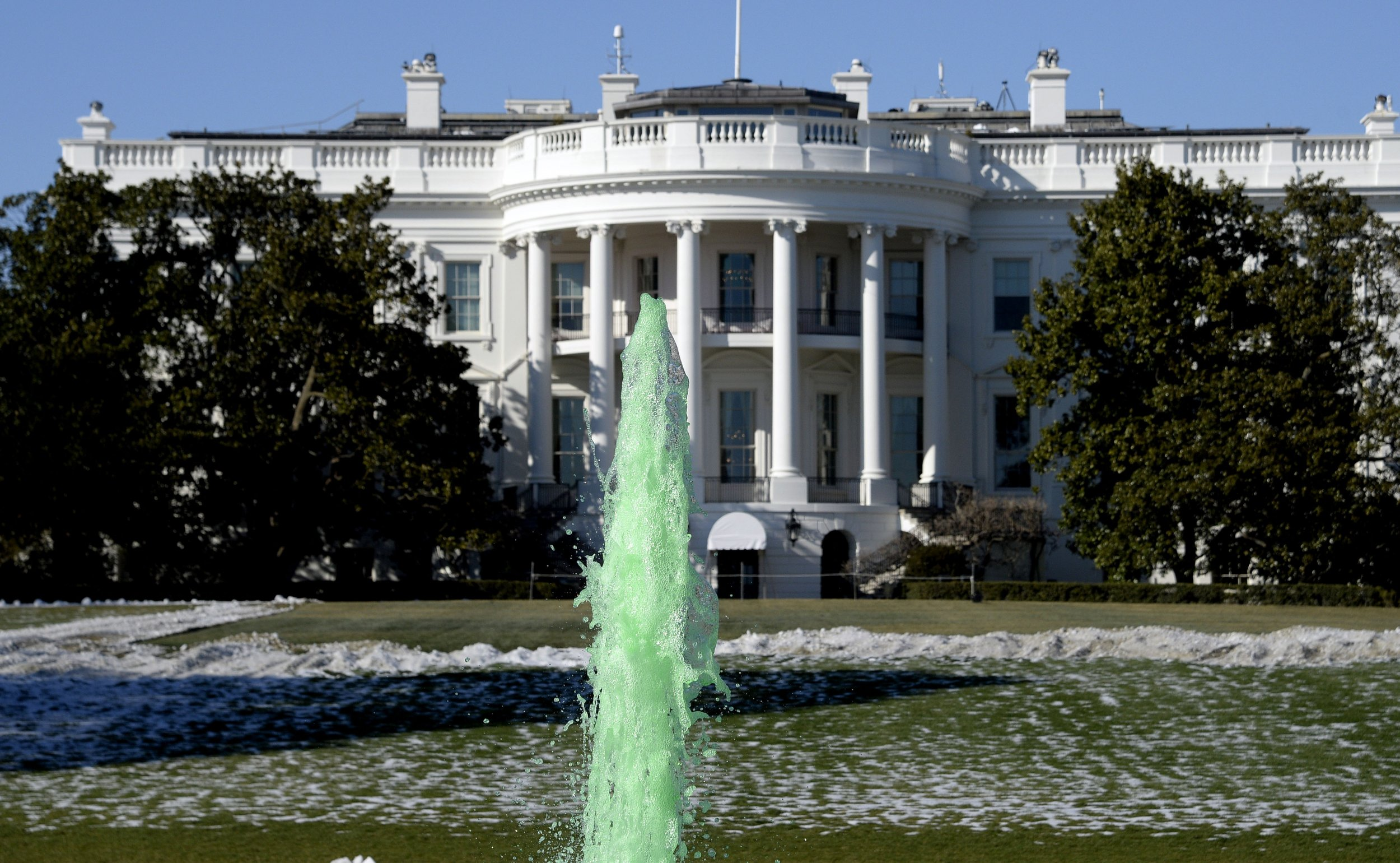 white house green fountain st. patrick's day michelle obama
