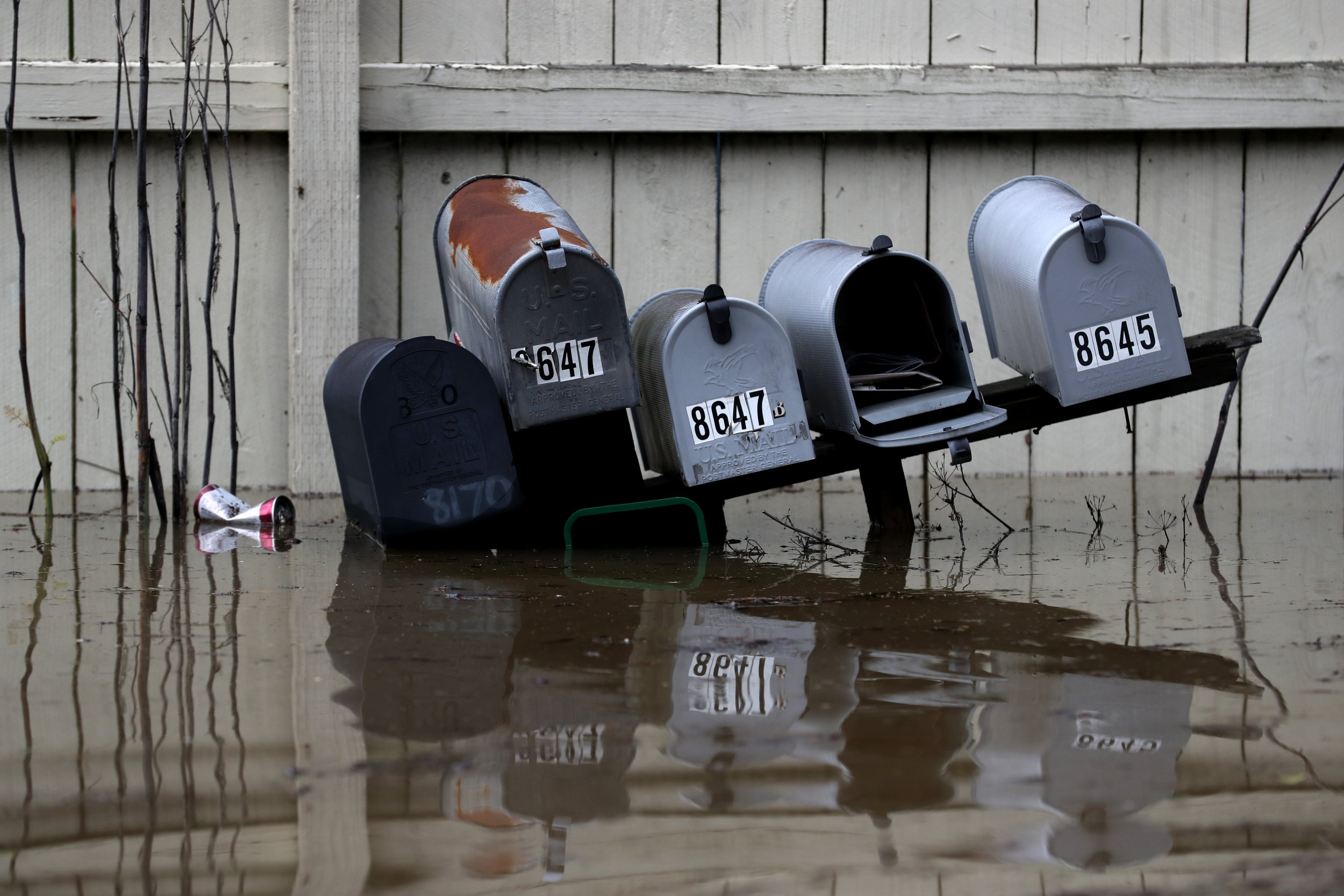 mail boxes under water
