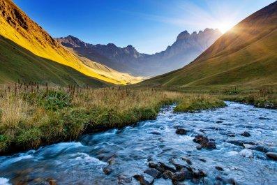 Georgia - Beautiful view of mountain river in summer