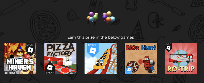 Pizza Party Event Website On Roblox Roblox Pizza Party Event Guide How To Get Boombox Backpack Pinata Hat And More
