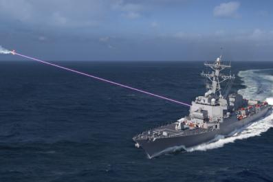 Navy Laser System Aboard Guided Missile Destroyer