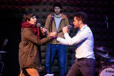 Jessica Almasy, Martin Donaghy and Reuben Joseph in ANYTHING THAT GIVES OFF LIGHT - photo by Jeremy Daniel