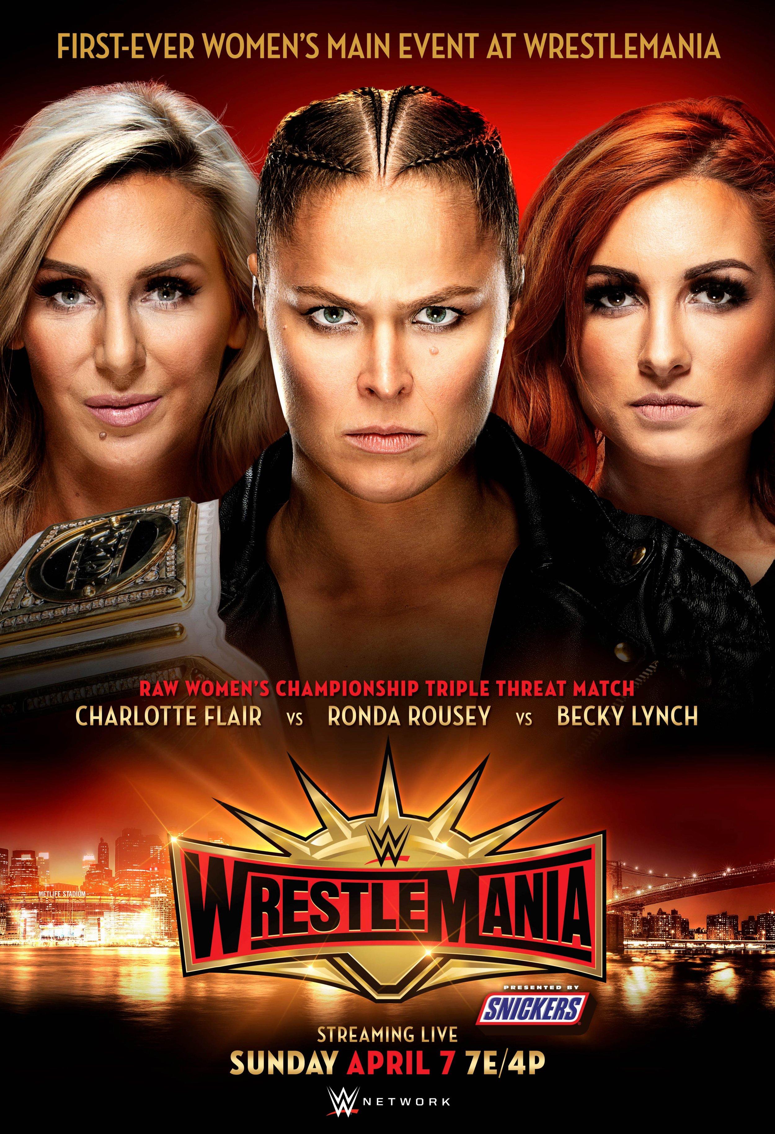 wwe wrestlemania 35 poster main event triple threat