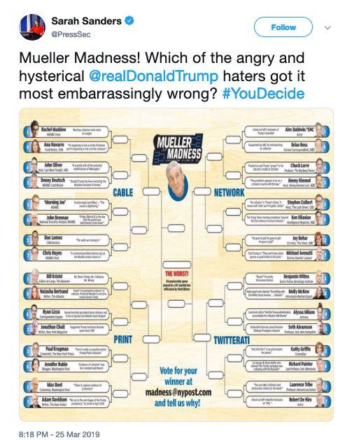 Sarah Sanders Shares 'Mueller Madness' Bracket Mocking