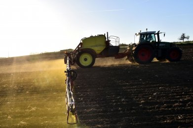 glyphosate herbicide sprayed on a agricultural field