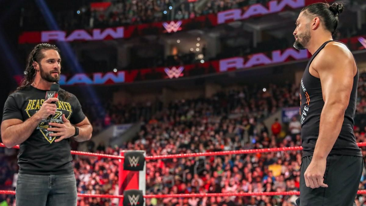 seth rollins and roman reigns monday night raw wwe