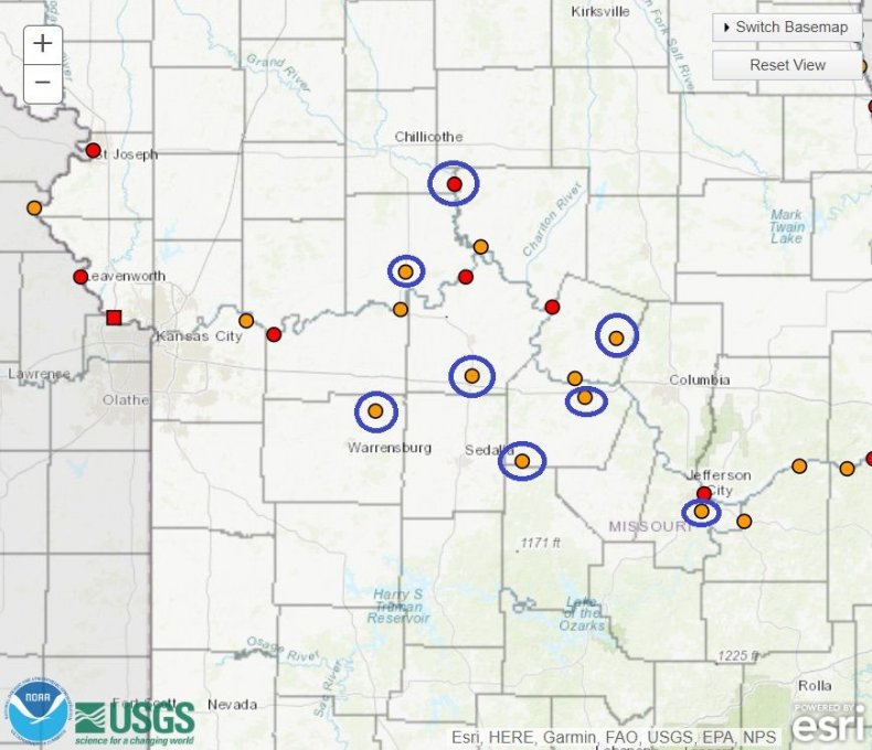 Flooding map missouri