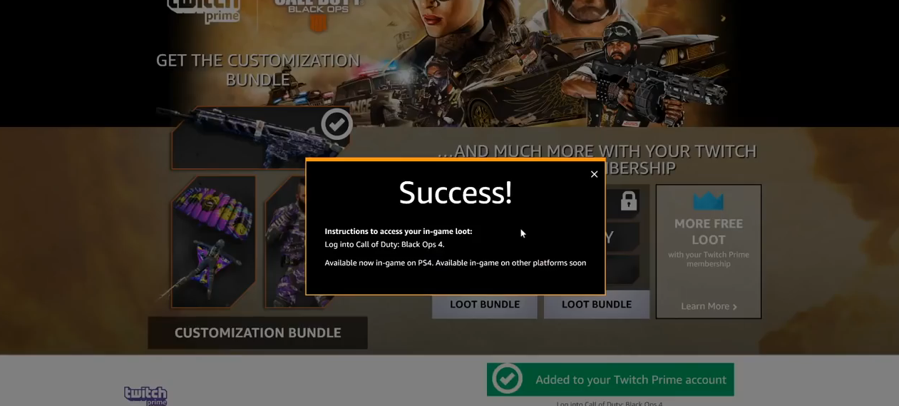Black Ops 4 Twitch Prime Loot success
